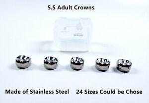 5Pcs Dental Stainless Steel Molar Crowns Adult Preformed Crown 24 Size Teeth