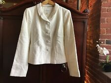 NWT Women's Off White Ivory Banana Republic Size 10 M Blazer Jacket tweed button