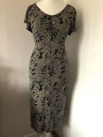 Ethel Austin Short Sleeved Midi Dress Size 12 Navy Blue Taupe Leaf Print Jersey