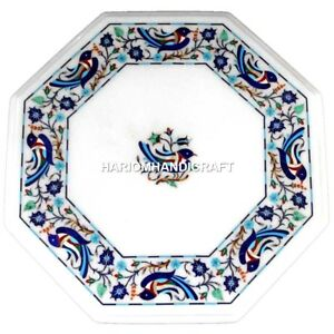 Marble Coffee Side Table Top Inlaid Mosaic Birds Floral Arts Hallway Decor H3243