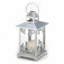 Silver Victorian Style Scroll-Work Pillar Candle Lantern Clear Glass
