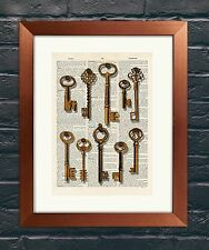 Vintage Dictionary Book page Art Print - Antique Keys 2 Steampunk Wall Art