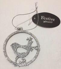 Sparkle Glitter Argent Oiseau de Noël Arbre de Noel à suspendre décoration Rond Pendentif