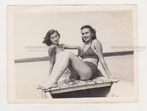 Two Pretty Attractive Young Women Beach Bikini Swimsuit Lady Females Snapshot