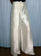 Trousers Thai Silk Palazzo Wrap Flared Leg Fisherman Ladies Womens White Pants