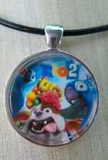 "Rio 2 The Movie  ""LUIZ, BLUE & JEWEL""  Glass Pendant with Leather Necklace"