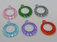 """50 Mixed Color Transparent Acrylic Dnout Charm Pendants 25mm(1"""")"""