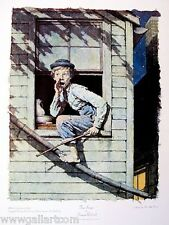 """NORMAN ROCKWELL """"HE MEOW'D WITH CAUTION ONCE OR TWICE""""   TOM SAWYER   COLLOTYPE"""