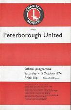 Football Programme>CHARLTON ATHLETIC v PETERBOROUGH UNITED Oct 1974