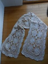 Vintage Off White Crochet Medallion Pattern Scarf/Stole