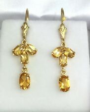 14k Solid Yellow Gold Leverback Dangle Earrings, Natural Citrine 1.66 Grams