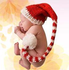 Christmas Newborn Baby Handmade Long Tail Striped Crochet Beanie Hat Photo Props