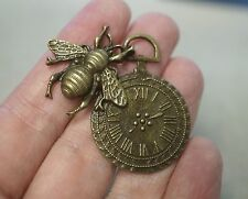 1 Large metal Steampunk Antique Bronze Abeille Horloge Charm/Pendentif - 42 mm