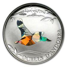 2012 Andorra Proof Silver 5 Diners Prism Birds Northern Shoveler  + COA