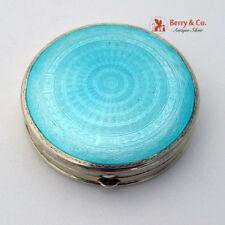 Art Deco Blue Guilloche Enamel Compact Gilt Sterling Silver Foster Bailey 1930