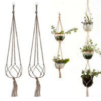 Rope Macrame Hanger Plant Knit Weave Net String Bag Hanging Holder Hemp