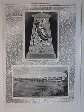 1864 LODI IL VECCHIO ED IL NUOVO PONTE xilografia Illustrazione Universale