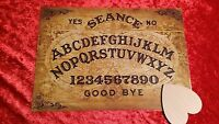 Ouija Board Old Globe laminated sheet + Planchette Fortune telling witch Ghost