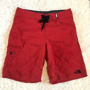 The North Face Men's Water Swim Board Trunks Shorts Red Size 32 Drawstrings