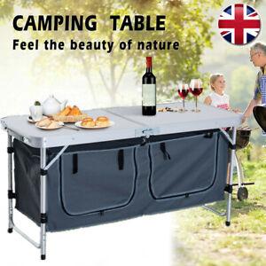 Portable Picnic Table Camping BBQ Banquet Folding Storage Adjustable Garden UK
