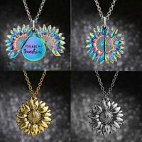 Charm Women Gold Silver Boho Sunflower Locket Necklace Pendent Wedding Gift