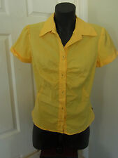Ladies Cue Yellow Button Up Work Business Office Corporate Blouse Top Size 10