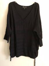 Women Lane Bryant Cotton Black 3/4 Sleeve V-Neck Sweater.  22/24