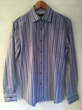 "NEXT Men's Size Medium Long Sleeve Stripe Shirt 21"" Armpit Purple Blue  <L4302"