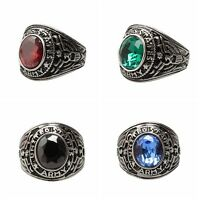 Men's Punk Gothic Black Onyx Gemstone Titanium Steel Band Finger Ring Jewelry