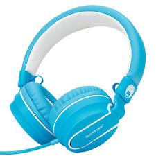 RockPapa Over Ear Foldable Headphones Headsets Earphones Kindle Fire HD DVD Blue