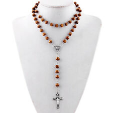 1x Silver Tone Big Jesus Cross Pendant Two Layer Brown Wood Bead Choker Necklace