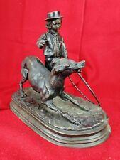 Très belle sculpture bronze ancien signée enfant au cerceau avec son chien 30cm