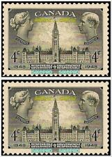 2x CANADA 1948 RESPONSIBLE GOVERNMENT FV FACE 8 CENT MNH RARE VINTAGE STAMP LOT