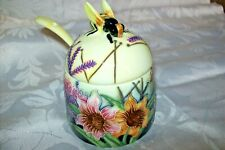 DECORATIVE OLD TUPTON WARE JAM/HONEY  PRESERVE JAR WITH SPOON