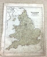 1857 Antique Map of England and Wales English County Old Hand Coloured Engraving