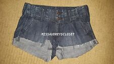 NEW HOLLISTER BETTY LOW RISE DENIM SHORT SHORTS PLEATED SIZE 0 25 NWT JEANS RARE