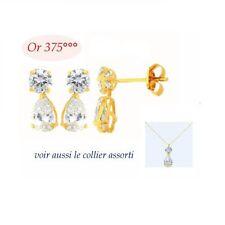 Boucles Oreilles Pendant Duo Diamant Cz Or Massif 9K