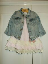 Girls Next denim jacket & lace frill dress 9-12 months bundle VGC
