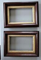 """2 SM Antique Fit 4X7"""" Gold GILT Picture Frames Wood WALNUT Fine Art MINIATURE PR"""