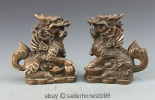 Chinese Royal Bronze Copper Fengshui Guardian Avoid Evil Kilin Kylin Pair