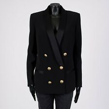 BALMAIN 2695$ Oversized Double Breasted Blazer In Black Crepe
