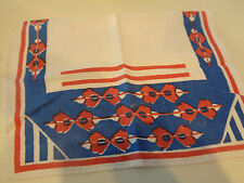 "13.5"" x 21"" Ivory Vintage Hand Towel w/ Blue Orange Design EUC"