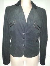 MISS ME Womens Casual Velour Corduroy Suit Blazer Jacket Coat Size Medium Black
