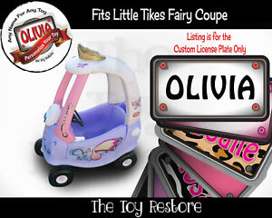 Custom License Plate Replacement Stickers fits Little Tikes Fairy Cozy Coupe Car