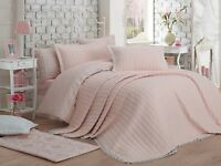 3 tlg. Luxus Tagesdecke Bettüberwurf Decke Überwurf 240x260 cm Merry Rosa