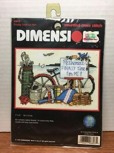 """Dimensions Counted Cross Stitch Kit - """"FINALLY TIME FOR ME!"""", Kit #6803, NIP"""
