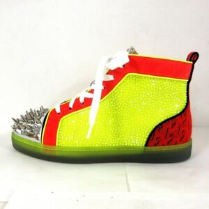 Auth CHRISTIAN LOUBOUTIN Yellow Red Multi Mens Sneakers#40 (US # 7)