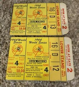 TWO 1964 World Series Game 4 Ticket Stubs Cardinals Vs. Yankees Ken Boyer HR