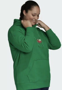 Adidas Women's Adicolor 3D Trefoil Hoodie Plus Size 2X NEW GD2321 Embroidered