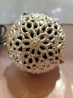 Vintage Chirping Silver Christmas Tree Ball Ornament